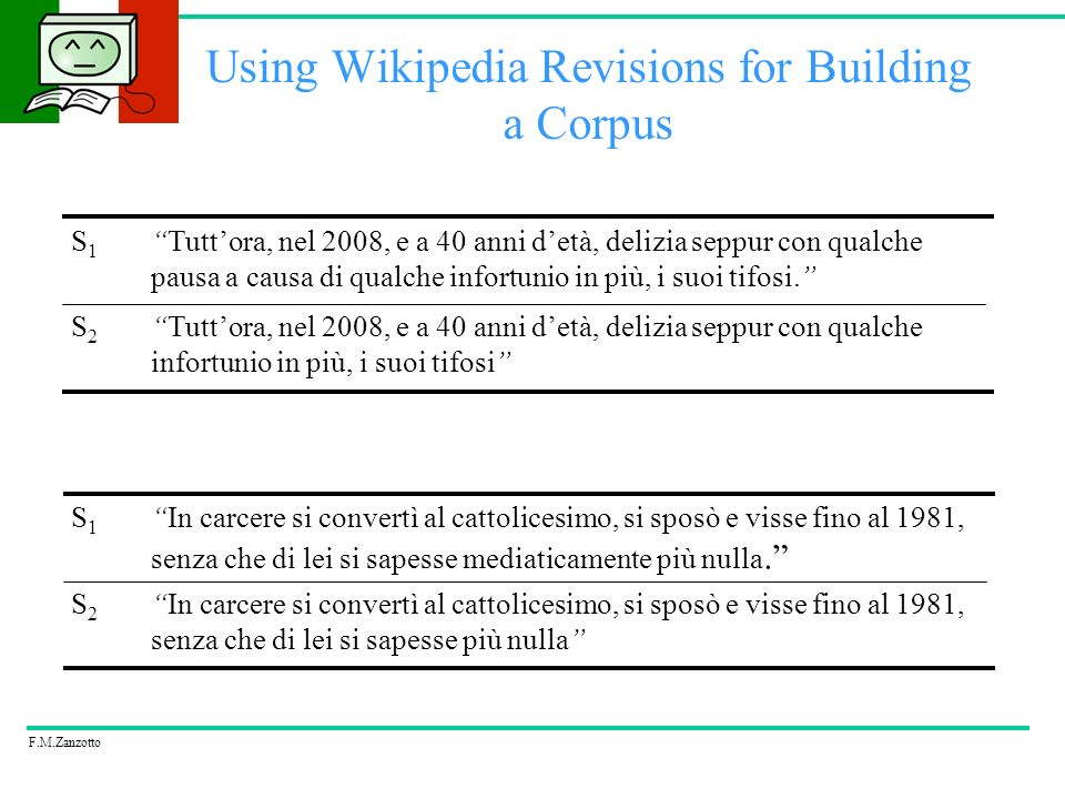 F.M.Zanzotto Using Wikipedia Revisions for Building a Corpus Annotation Guidelines The annotators classified each pair into one of the following classes: –bidirectional: S1 entails S2 and viceversa –left: S1 entails S2, but not viceversa –right: S2 entails S1, but not viceversa –no: neither S1 entails S2, nor viceversa –reject: rejected pairs