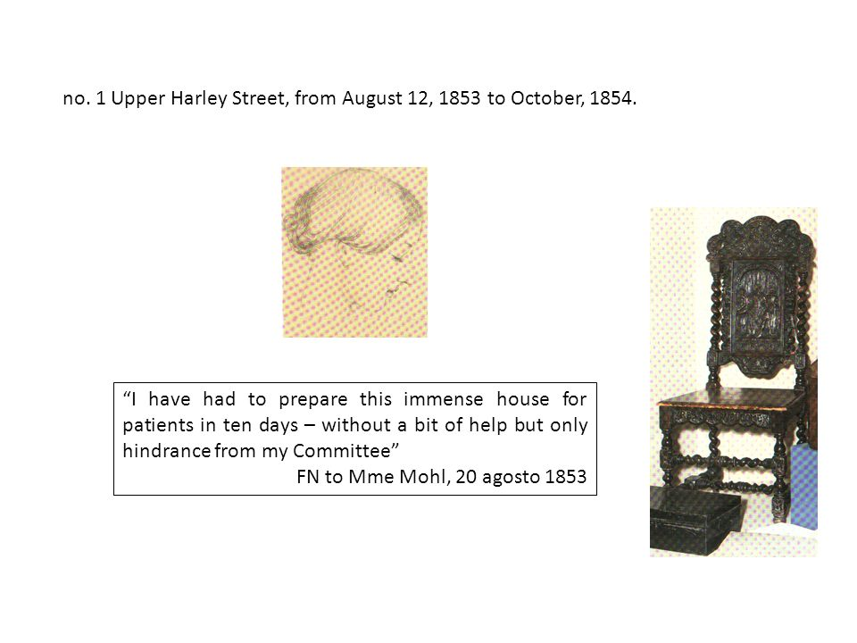 no.1 Upper Harley Street, from August 12, 1853 to October, 1854.