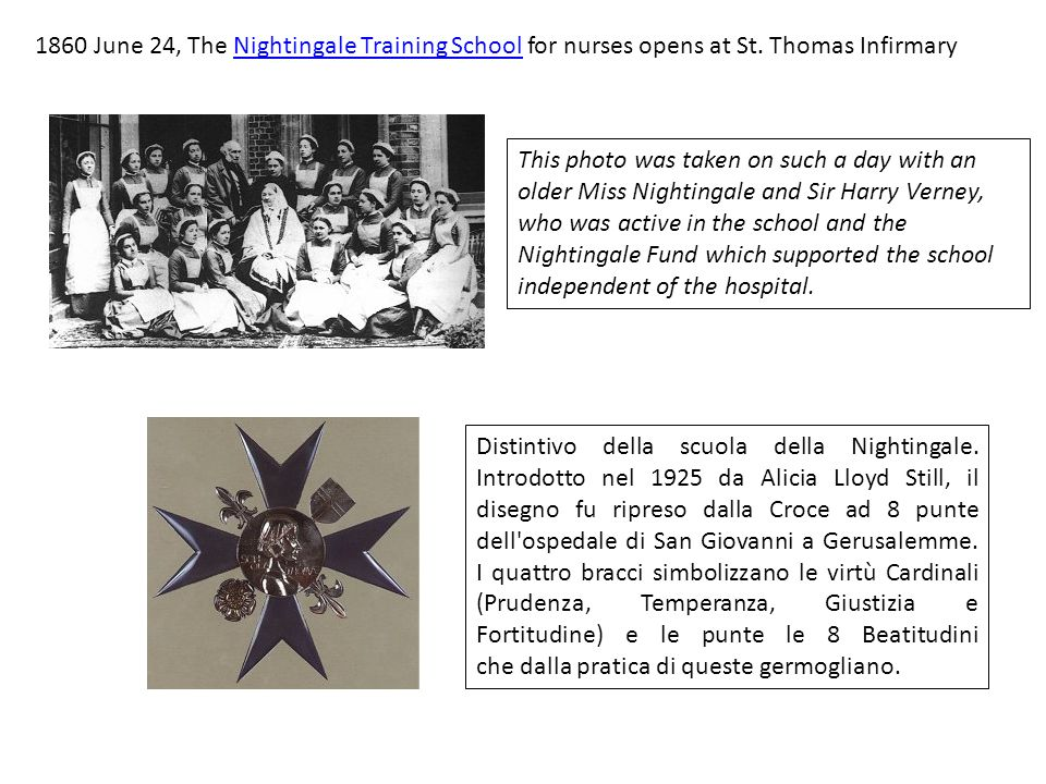 1860 June 24, The Nightingale Training School for nurses opens at St.