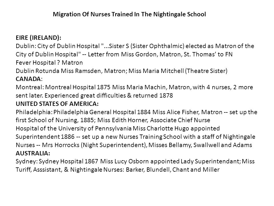 EIRE (IRELAND): Dublin: City of Dublin Hospital ...Sister S (Sister Ophthalmic) elected as Matron of the City of Dublin Hospital -- Letter from Miss Gordon, Matron, St.