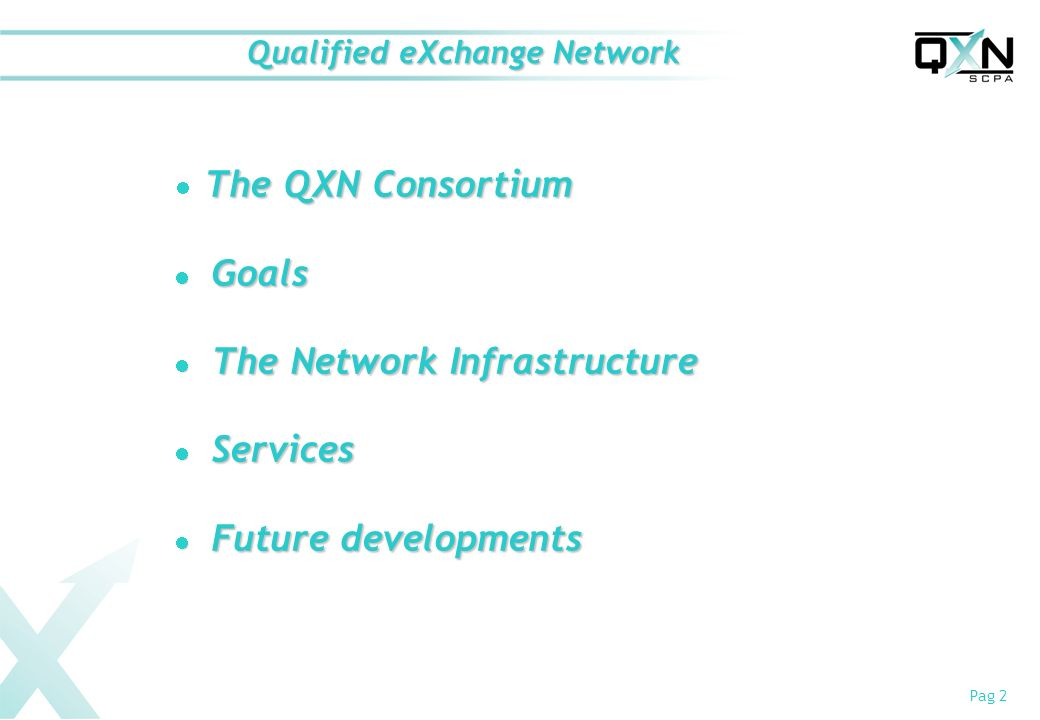 Pag 2 Qualified eXchange Network The QXN Consortium Goals Goals The Network Infrastructure The Network Infrastructure Services Services Future developments Future developments