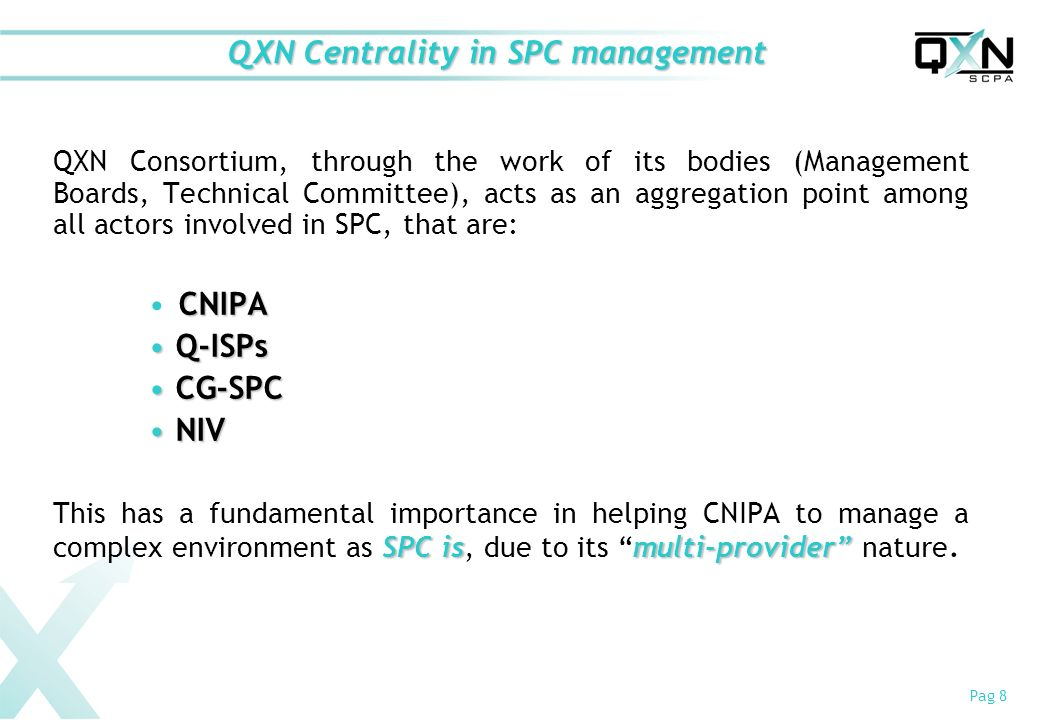 Pag 8 QXN Centrality in SPC management QXN Consortium, through the work of its bodies (Management Boards, Technical Committee), acts as an aggregation point among all actors involved in SPC, that are: CNIPA Q-ISPs Q-ISPs CG-SPC CG-SPC NIV NIV SPC ismulti-provider This has a fundamental importance in helping CNIPA to manage a complex environment as SPC is, due to its multi-provider nature.