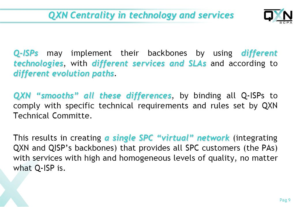 Pag 9 QXN Centrality in technology and services Q-ISPsdifferent technologiesdifferentservices andSLAs different evolution paths Q-ISPs may implement their backbones by using different technologies, with different services and SLAs and according to different evolution paths.