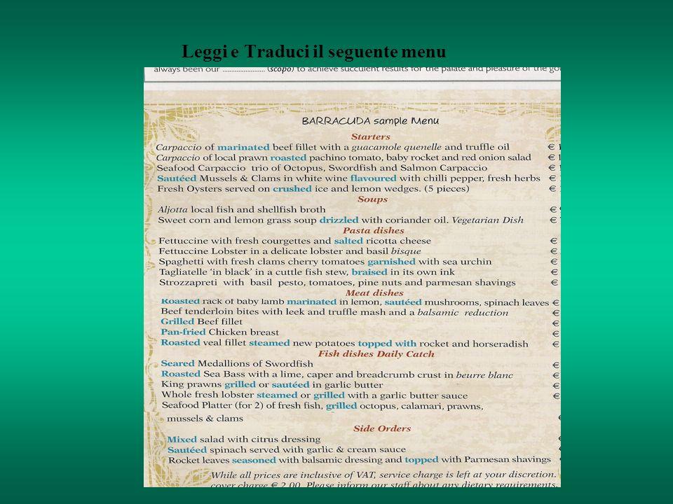 Leggi e Traduci il seguente menu