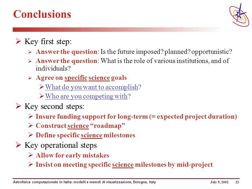 July 5, 2002 Astrofisica computazionale in Italia: modelli e metodi di visualizzazione, Bologna, Italy 22 Conclusions Key first step: Answer the question: Is the future imposed.