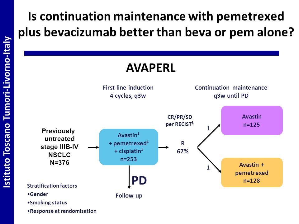 Is continuation maintenance with pemetrexed plus bevacizumab better than beva or pem alone.