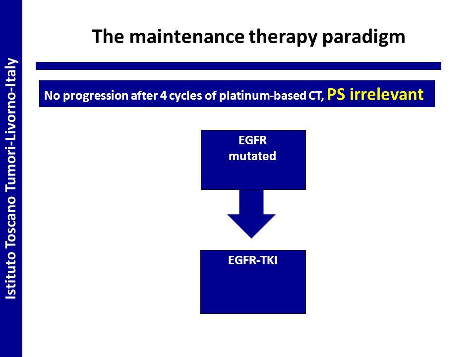 The maintenance therapy paradigm EGFR mutated EGFR-TKI Istituto Toscano Tumori-Livorno-Italy No progression after 4 cycles of platinum-based CT, PS irrelevant
