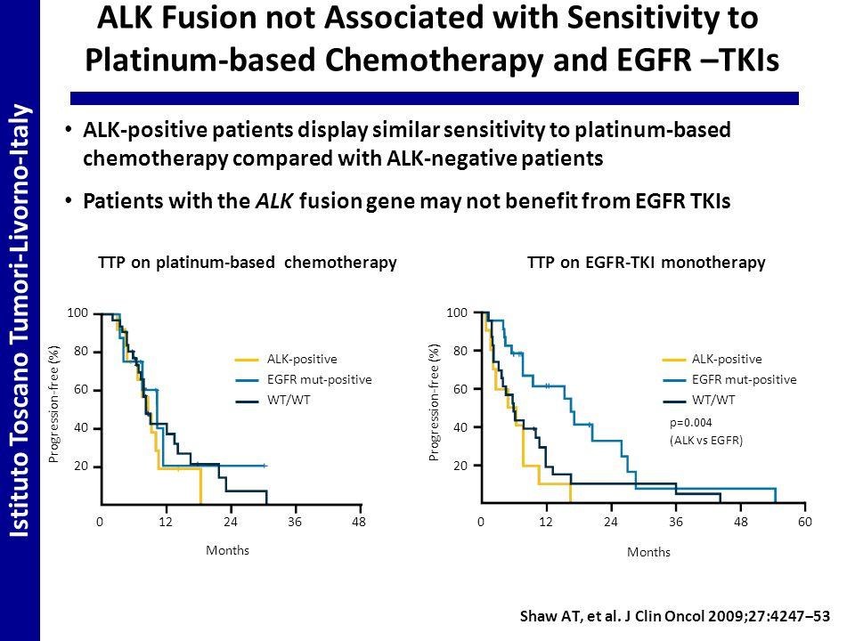 Istituto Toscano Tumori-Livorno-Italy ALK Fusion not Associated with Sensitivity to Platinum-based Chemotherapy and EGFR –TKIs ALK-positive patients display similar sensitivity to platinum-based chemotherapy compared with ALK-negative patients Patients with the ALK fusion gene may not benefit from EGFR TKIs Shaw AT, et al.