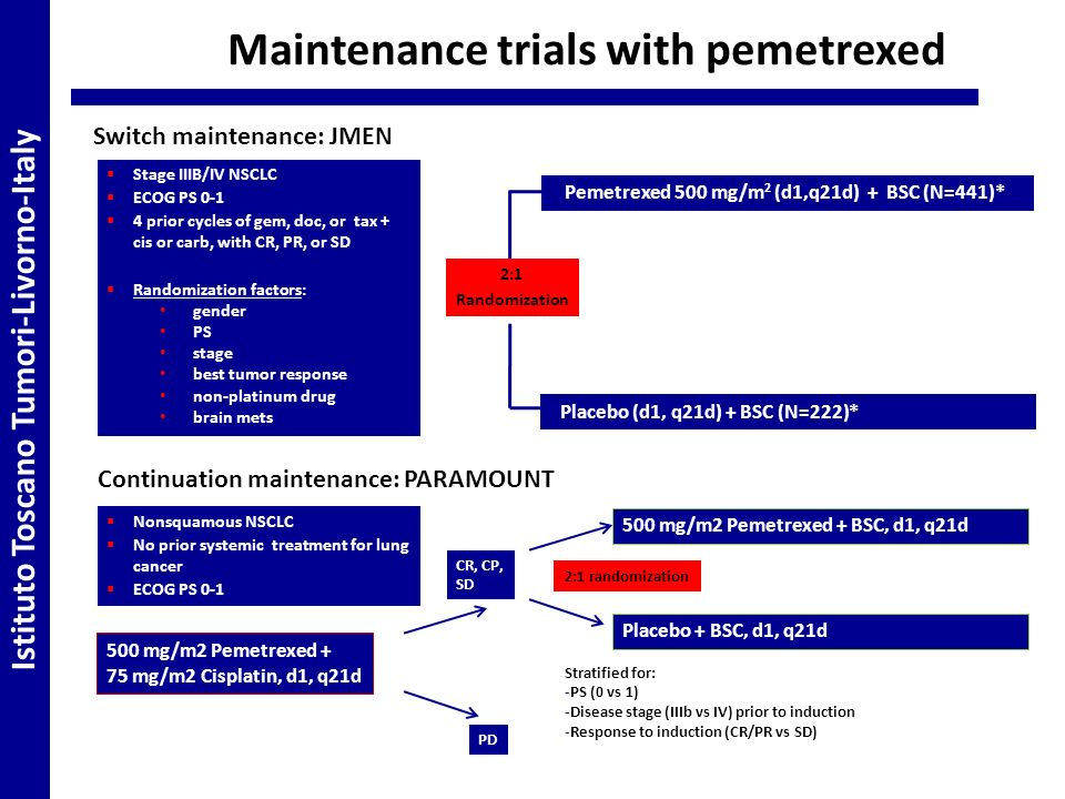 Maintenance trials with pemetrexed Stage IIIB/IV NSCLC ECOG PS 0-1 4 prior cycles of gem, doc, or tax + cis or carb, with CR, PR, or SD Randomization factors: gender PS stage best tumor response non-platinum drug brain mets 2:1 Randomization Pemetrexed 500 mg/m 2 (d1,q21d) + BSC (N=441)* Placebo (d1, q21d) + BSC (N=222)* Switch maintenance: JMEN Continuation maintenance: PARAMOUNT Nonsquamous NSCLC No prior systemic treatment for lung cancer ECOG PS 0-1 500 mg/m2 Pemetrexed + 75 mg/m2 Cisplatin, d1, q21d CR, CP, SD PD 500 mg/m2 Pemetrexed + BSC, d1, q21d Placebo + BSC, d1, q21d 2:1 randomization Stratified for: -PS (0 vs 1) -Disease stage (IIIb vs IV) prior to induction -Response to induction (CR/PR vs SD) Istituto Toscano Tumori-Livorno-Italy