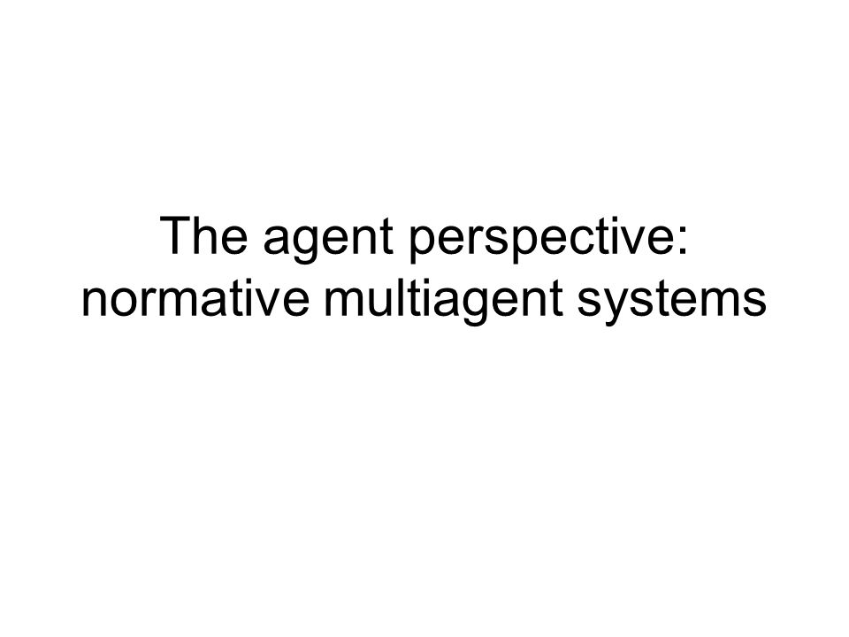 The agent perspective: normative multiagent systems