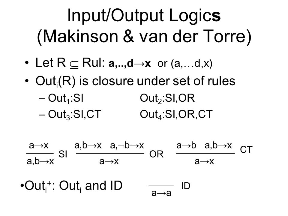Input/Output Logics (Makinson & van der Torre) Let R Rul: a,..,dx or (a,…d,x) Out i (R) is closure under set of rules –Out 1 :SIOut 2 :SI,OR –Out 3 :S