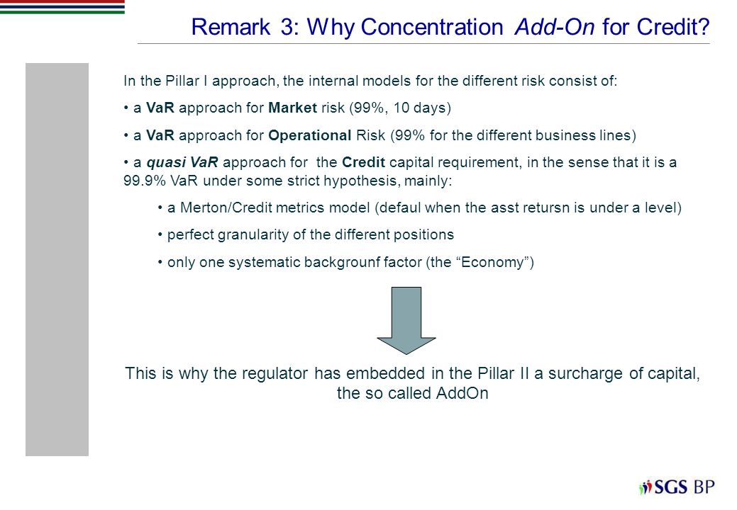 Remark 3: Why Concentration Add-On for Credit? In the Pillar I approach, the internal models for the different risk consist of: a VaR approach for Mar