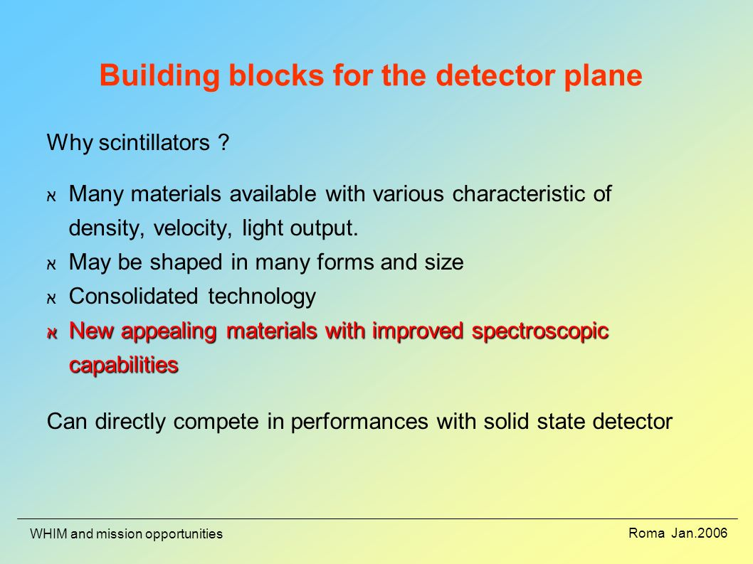 Roma Jan.2006 WHIM and mission opportunities Building blocks for the detector plane Why scintillators .