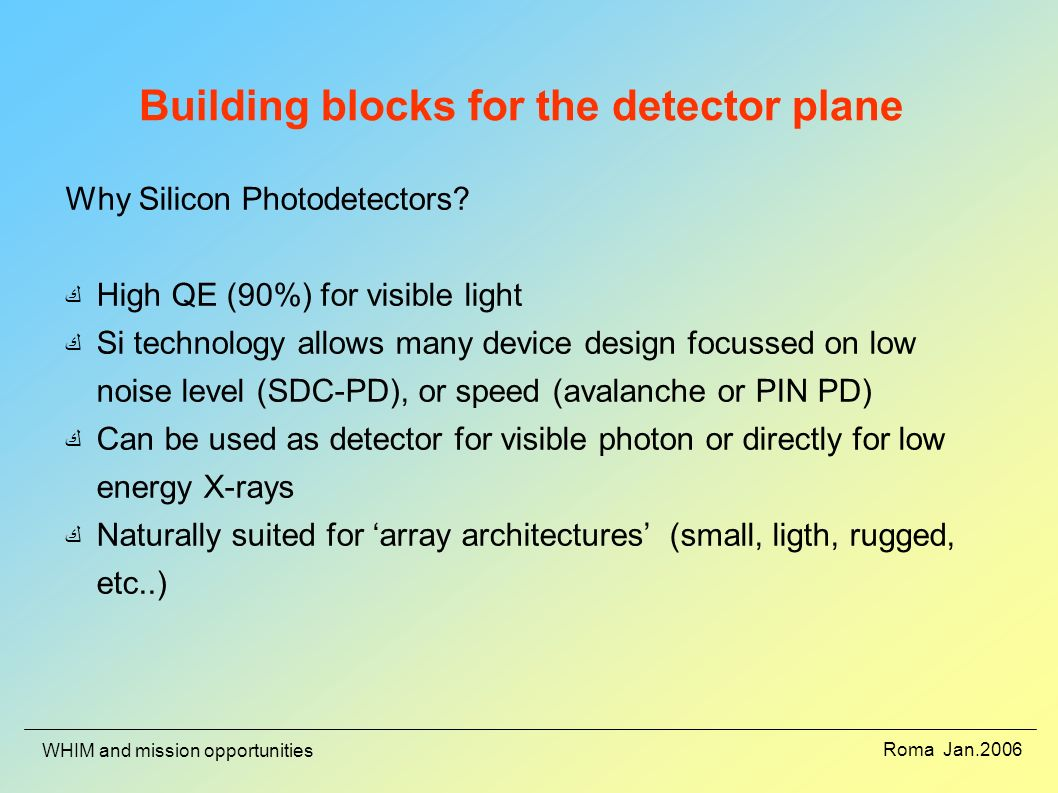 Roma Jan.2006 WHIM and mission opportunities Building blocks for the detector plane Why Silicon Photodetectors.