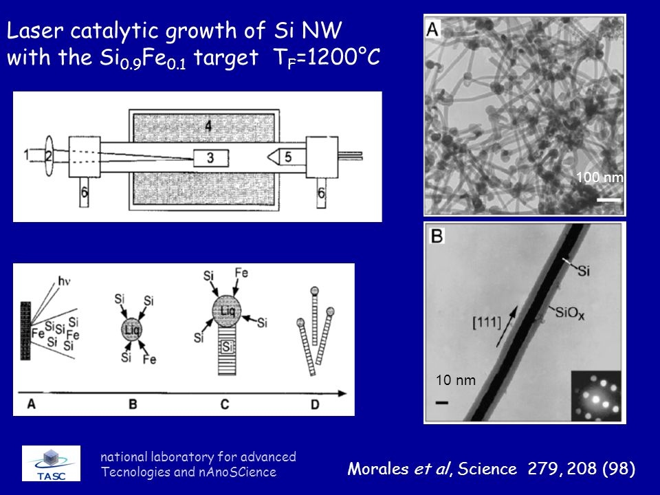 national laboratory for advanced Tecnologies and nAnoSCience Laser catalytic growth of Si NW with the Si 0.9 Fe 0.1 target T F =1200°C Morales et al,