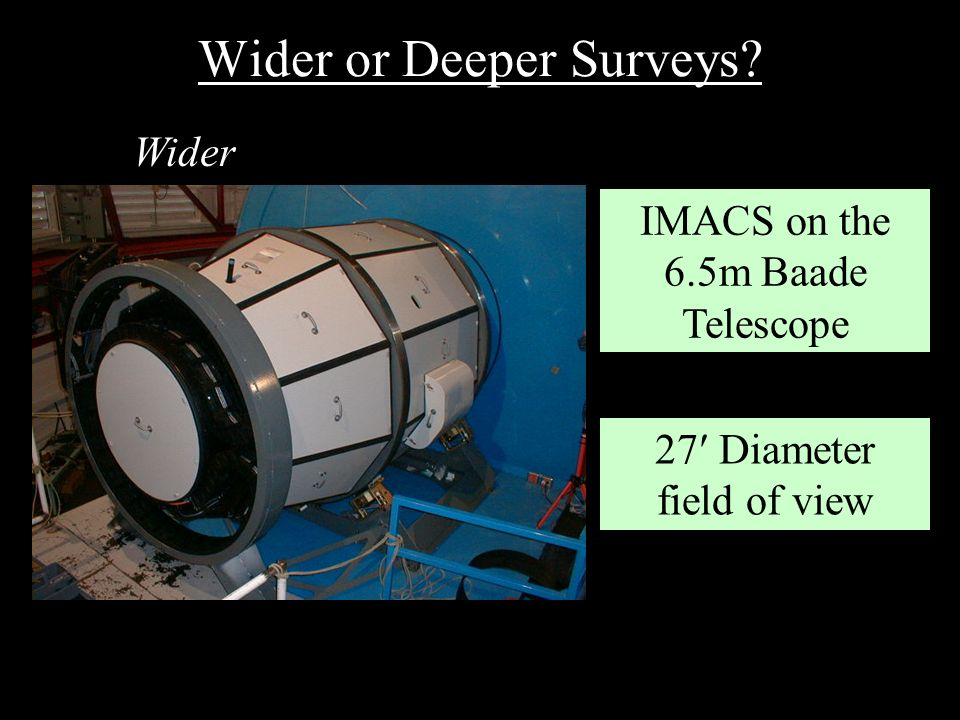 Wider or Deeper Surveys? IMACS on the 6.5m Baade Telescope 27 Diameter field of view Wider