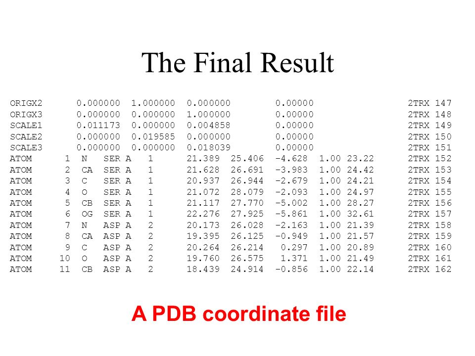 The Final Result A PDB coordinate file ORIGX2 0.000000 1.000000 0.000000 0.00000 2TRX 147 ORIGX3 0.000000 0.000000 1.000000 0.00000 2TRX 148 SCALE1 0.011173 0.000000 0.004858 0.00000 2TRX 149 SCALE2 0.000000 0.019585 0.000000 0.00000 2TRX 150 SCALE3 0.000000 0.000000 0.018039 0.00000 2TRX 151 ATOM 1 N SER A 1 21.389 25.406 -4.628 1.00 23.22 2TRX 152 ATOM 2 CA SER A 1 21.628 26.691 -3.983 1.00 24.42 2TRX 153 ATOM 3 C SER A 1 20.937 26.944 -2.679 1.00 24.21 2TRX 154 ATOM 4 O SER A 1 21.072 28.079 -2.093 1.00 24.97 2TRX 155 ATOM 5 CB SER A 1 21.117 27.770 -5.002 1.00 28.27 2TRX 156 ATOM 6 OG SER A 1 22.276 27.925 -5.861 1.00 32.61 2TRX 157 ATOM 7 N ASP A 2 20.173 26.028 -2.163 1.00 21.39 2TRX 158 ATOM 8 CA ASP A 2 19.395 26.125 -0.949 1.00 21.57 2TRX 159 ATOM 9 C ASP A 2 20.264 26.214 0.297 1.00 20.89 2TRX 160 ATOM 10 O ASP A 2 19.760 26.575 1.371 1.00 21.49 2TRX 161 ATOM 11 CB ASP A 2 18.439 24.914 -0.856 1.00 22.14 2TRX 162