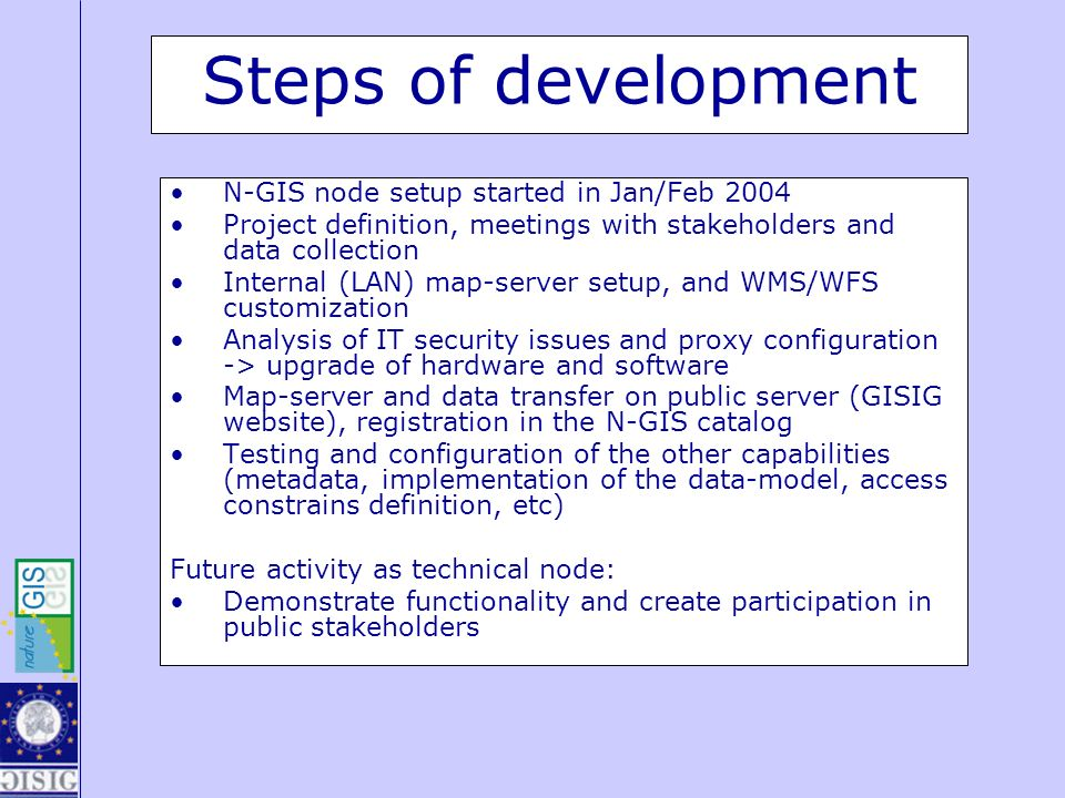 Steps of development N-GIS node setup started in Jan/Feb 2004 Project definition, meetings with stakeholders and data collection Internal (LAN) map-se