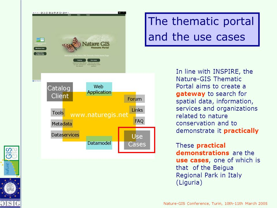 Nature-GIS Conference, Turin, 10th-11th March 2005 The thematic portal and the use cases In line with INSPIRE, the Nature-GIS Thematic Portal aims to