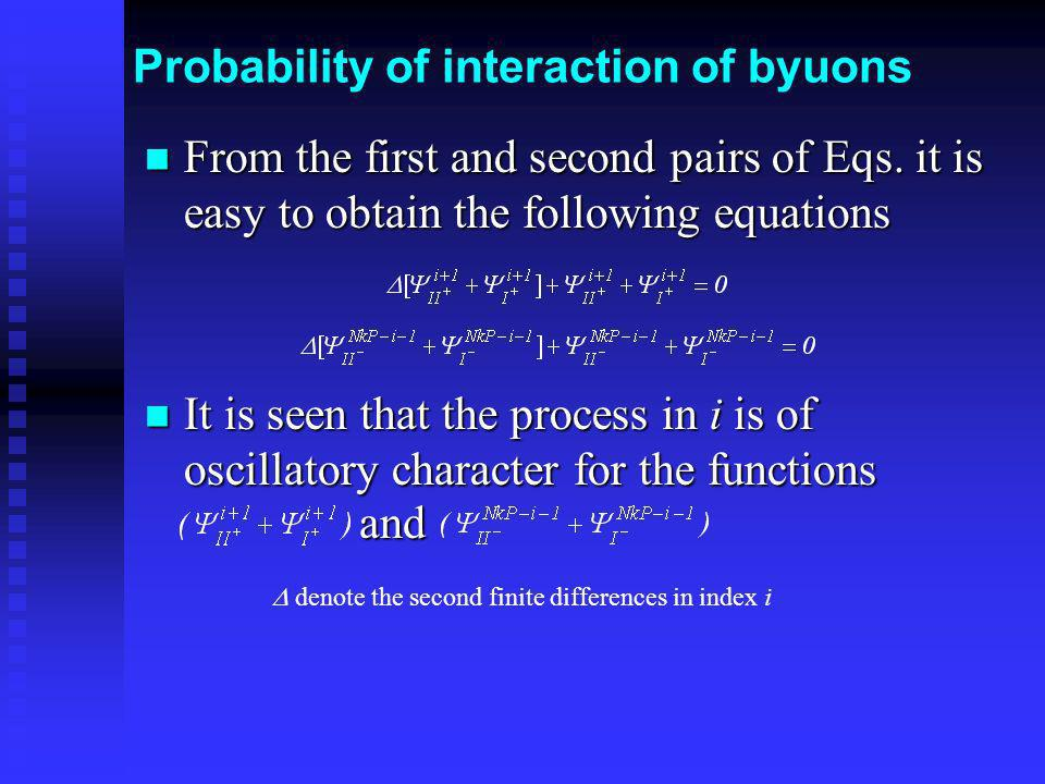 Probability of interaction of byuons From the first and second pairs of Eqs. it is easy to obtain the following equations From the first and second pa