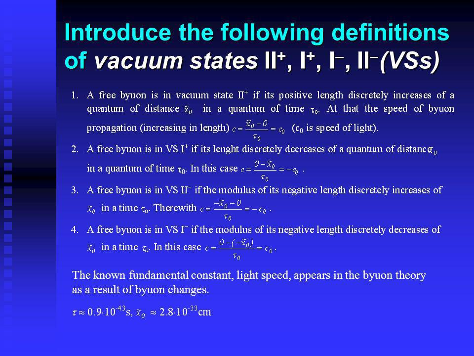 Introduce the following definitions of vacuum states II +, I +, I, II (VSs) The known fundamental constant, light speed, appears in the byuon theory a