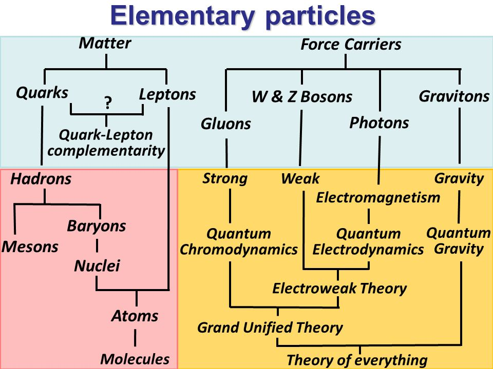 Elementary particles Mesons Baryons Nuclei Atoms Molecules Quark-Lepton complementarity Matter Quarks Leptons Hadrons ? Theory of everything Force Car