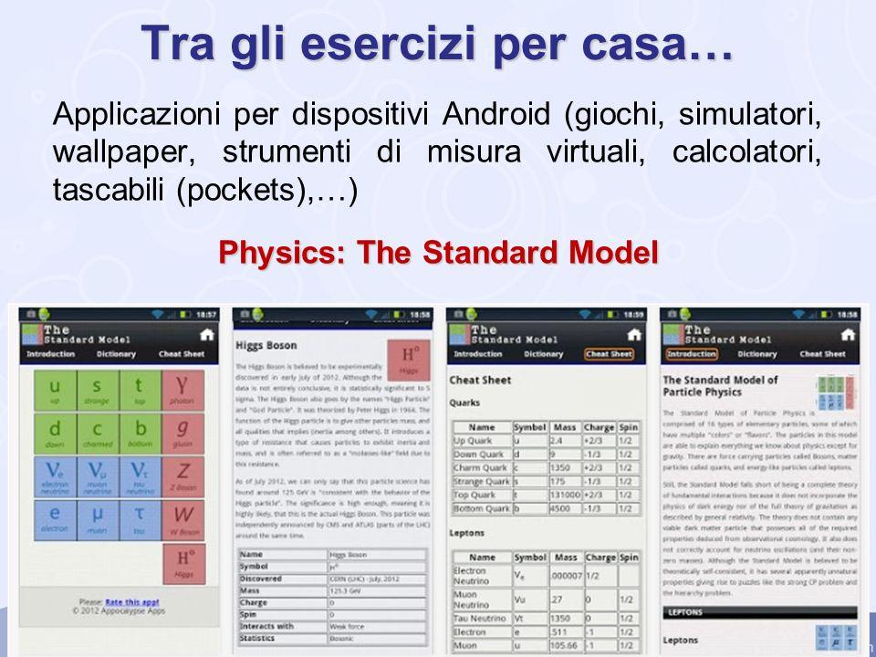 Tra gli esercizi per casa… Applicazioni per dispositivi Android (giochi, simulatori, wallpaper, strumenti di misura virtuali, calcolatori, tascabili (pockets),…) Physics: The Standard Model