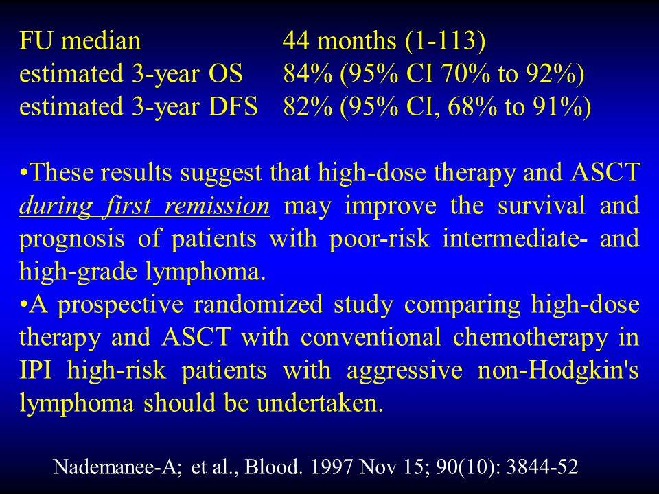 FU median44 months (1-113) estimated 3-year OS84% (95% CI 70% to 92%) estimated 3-year DFS82% (95% CI, 68% to 91%) These results suggest that high-dose therapy and ASCT during first remission may improve the survival and prognosis of patients with poor-risk intermediate- and high-grade lymphoma.