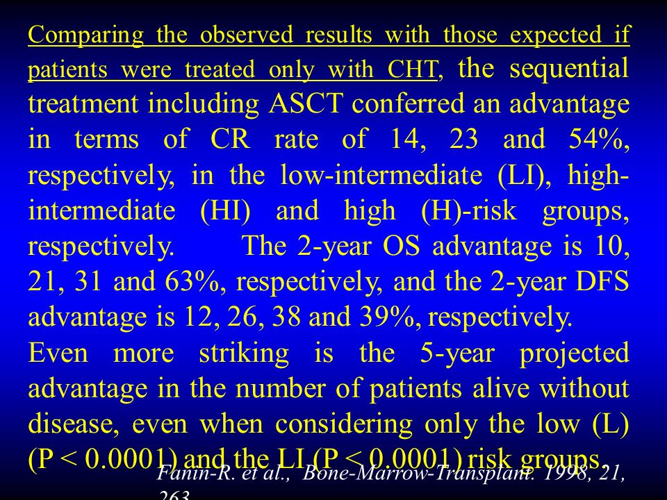 Comparing the observed results with those expected if patients were treated only with CHT, the sequential treatment including ASCT conferred an advantage in terms of CR rate of 14, 23 and 54%, respectively, in the low-intermediate (LI), high- intermediate (HI) and high (H)-risk groups, respectively.