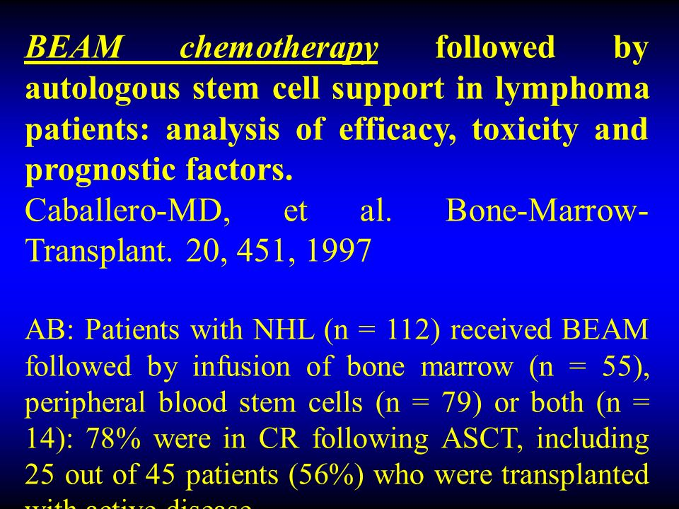 BEAM chemotherapy followed by autologous stem cell support in lymphoma patients: analysis of efficacy, toxicity and prognostic factors.