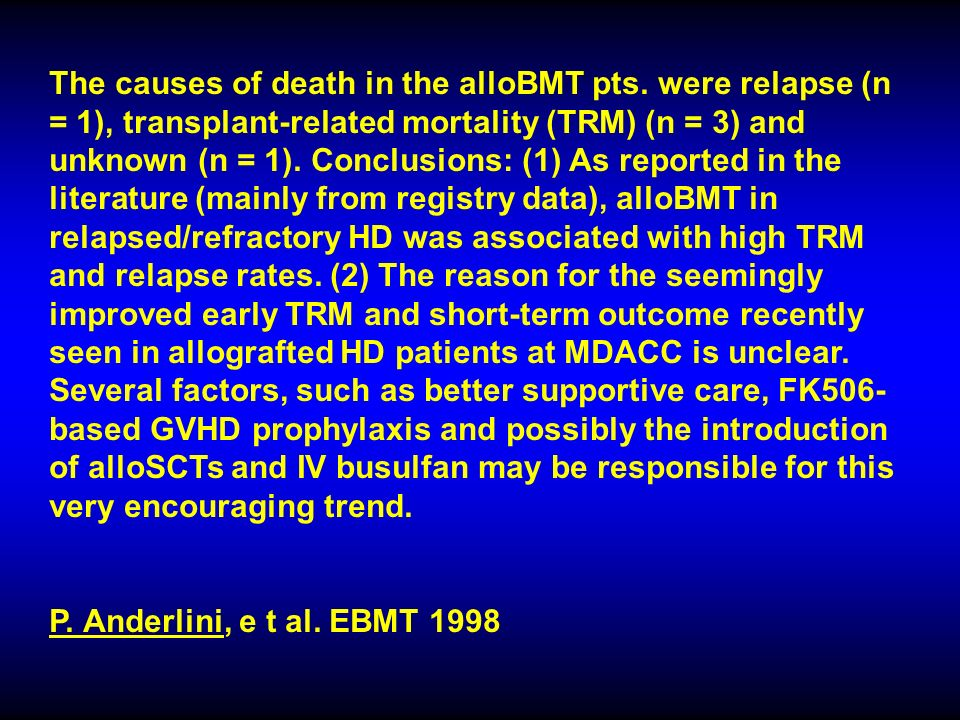 The causes of death in the alloBMT pts.