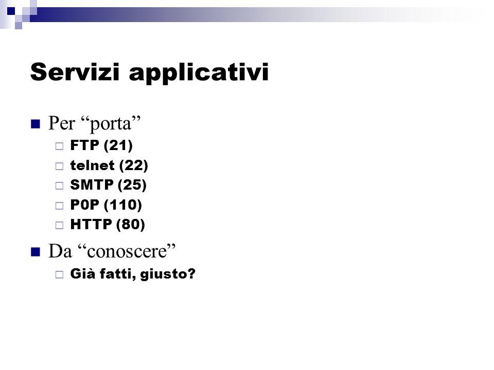 Servizi applicativi Per porta FTP (21) telnet (22) SMTP (25) P0P (110) HTTP (80) Da conoscere Già fatti, giusto?