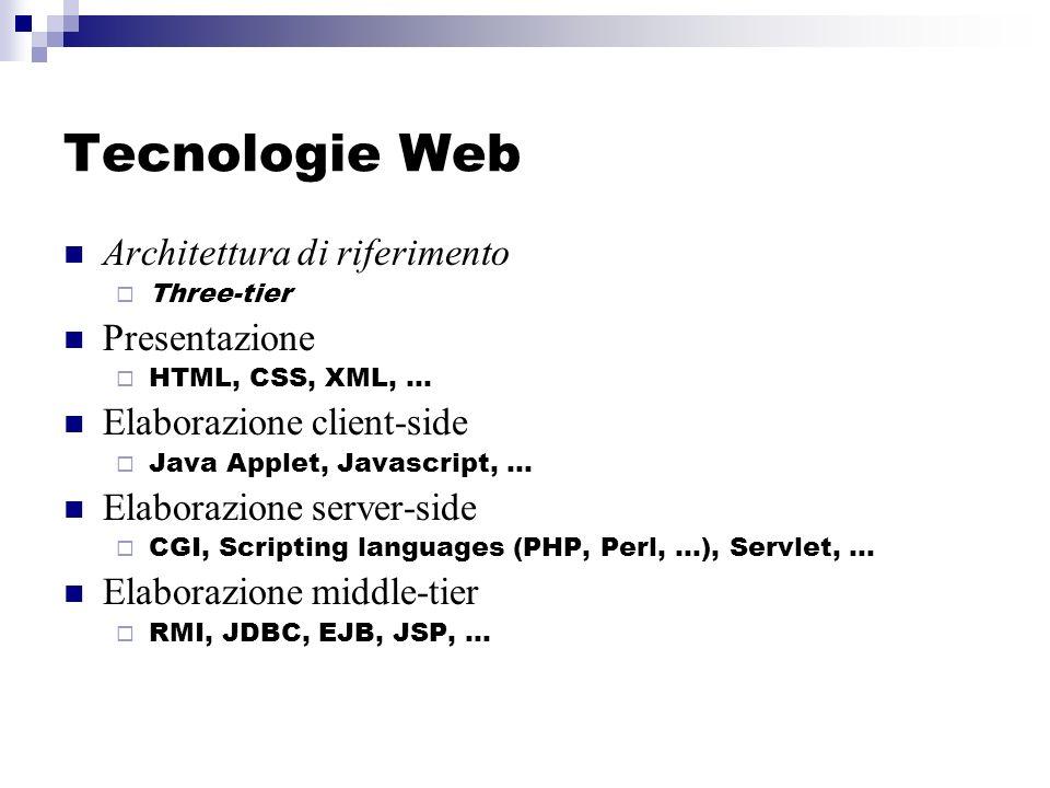 Tecnologie Web Architettura di riferimento Three-tier Presentazione HTML, CSS, XML, … Elaborazione client-side Java Applet, Javascript, … Elaborazione