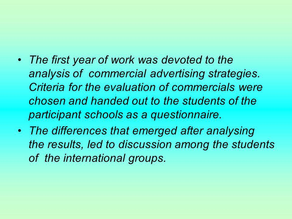 The first year of work was devoted to the analysis of commercial advertising strategies.