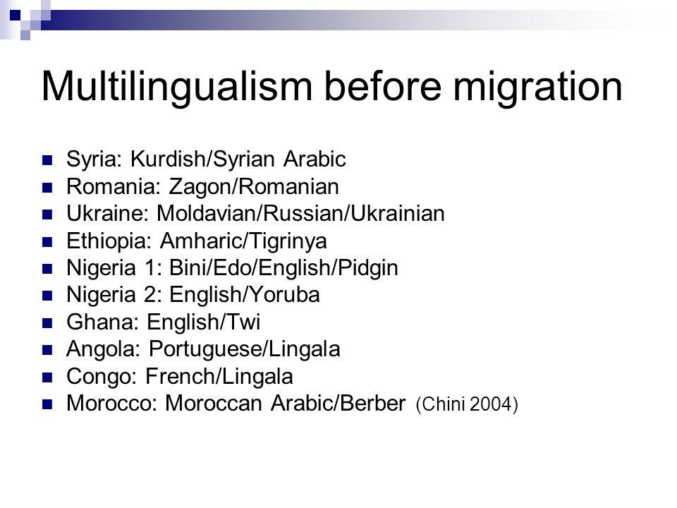 Multilingualism before migration Syria: Kurdish/Syrian Arabic Romania: Zagon/Romanian Ukraine: Moldavian/Russian/Ukrainian Ethiopia: Amharic/Tigrinya