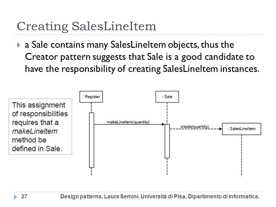 Creating SalesLineItem a Sale contains many SalesLineltem objects, thus the Creator pattern suggests that Sale is a good candidate to have the respons
