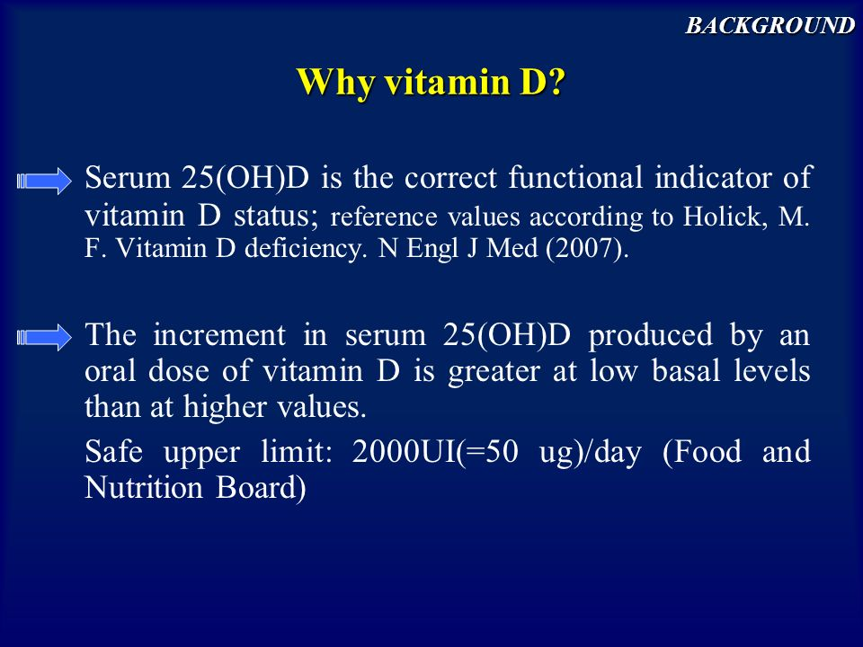 Why vitamin D? Serum 25(OH)D is the correct functional indicator of vitamin D status; reference values according to Holick, M. F. Vitamin D deficiency