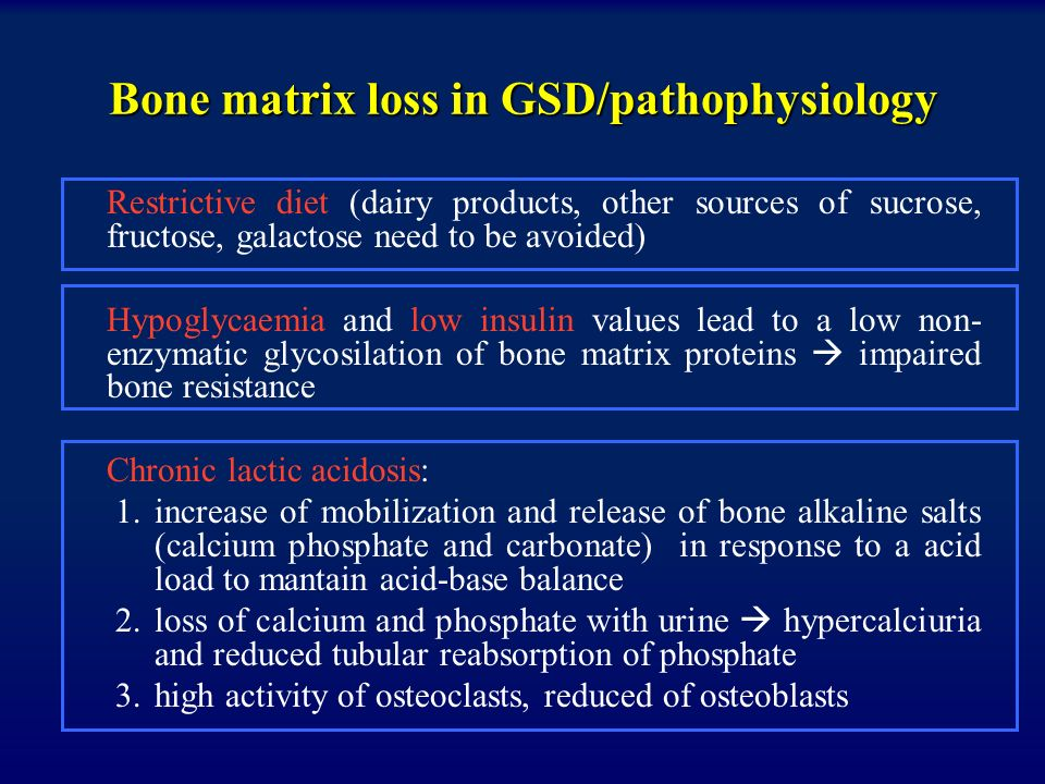 Bone matrix loss in GSD/pathophysiology Endogenous glucocorticoid excess, altered levels of GH and IGF-1 seems to reduce collagen content in bone and matrix synthesis Abnormal pubertal growth spurt with sex hormone secretory dysfunction (important role in bone formation and adequate peack bone mass, especially during puberty) Decreased calcium absorption