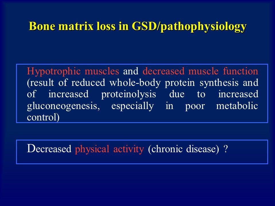 AIM OF THE STUDY To study prevalence of osteopenia and osteoporosis To determine plasmatic levels of 25(OH)D and to research a correlation with bone mineral density (BMD) To evaluate correlation between metabolic balance and bone markers BONE METABOLISM AND VITAMIN D ROLE IN PATIENTS WITH GSD I