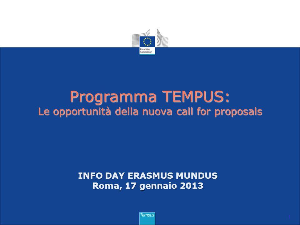 Programma TEMPUS: Le opportunità della nuova call for proposals 1 INFO DAY ERASMUS MUNDUS Roma, 17 gennaio 2013