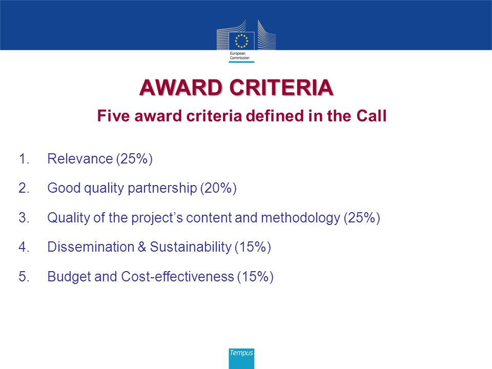 AWARD CRITERIA Five award criteria defined in the Call 1.Relevance (25%) 2.Good quality partnership (20%) 3.Quality of the projects content and method