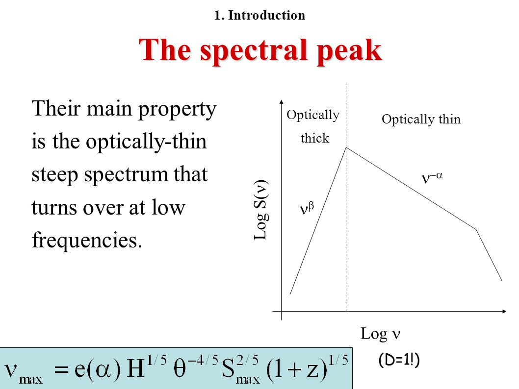 The spectral peak Their main property is the optically-thin steep spectrum that turns over at low frequencies. Optically thin Optically thick Log Log