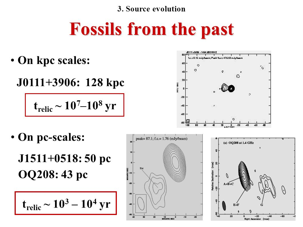 Fossils from the past On kpc scales: J0111+3906: 128 kpc t relic ~ 10 7 –10 8 yr On pc-scales: J1511+0518: 50 pc OQ208: 43 pc t relic ~ 10 3 – 10 4 yr