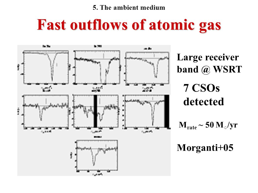 Fast outflows of atomic gas M rate ~ 50 M /yr 7 CSOs detected Morganti+05 Large receiver band @ WSRT 5. The ambient medium