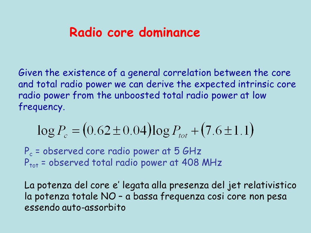 Given the existence of a general correlation between the core and total radio power we can derive the expected intrinsic core radio power from the unb