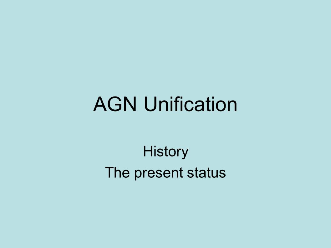 AGN Unification History The present status