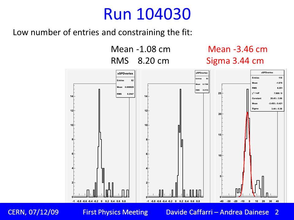 Run 104030 Padova, 09/11/09 Corso di dottorato XXIV ciclo Davide Caffarri CERN, 07/12/09 First Physics Meeting Davide Caffarri – Andrea Dainese 2 Low