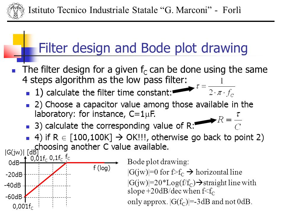 Filter design and Bode plot drawing Istituto Tecnico Industriale Statale G. Marconi - Forlì The filter design for a given f C can be done using the sa