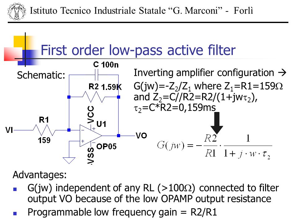 Istituto Tecnico Industriale Statale G. Marconi - Forlì First order low-pass active filter Schematic: Inverting amplifier configuration G(jw)=-Z 2 /Z