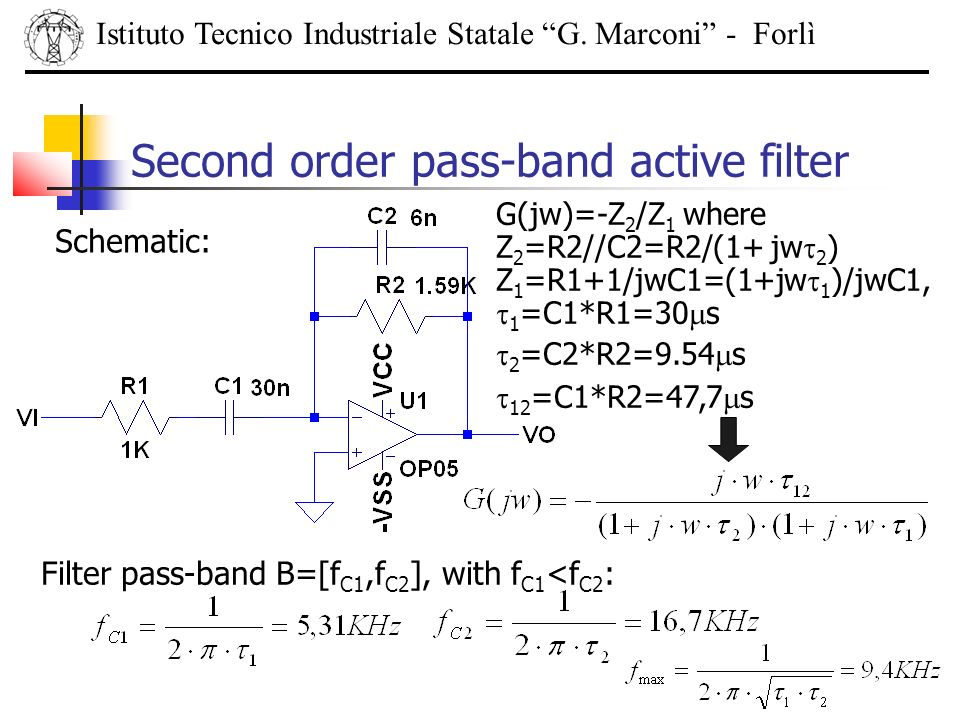 Istituto Tecnico Industriale Statale G. Marconi - Forlì Second order pass-band active filter Schematic: G(jw)=-Z 2 /Z 1 where Z 2 =R2//C2=R2/(1+ jw 2